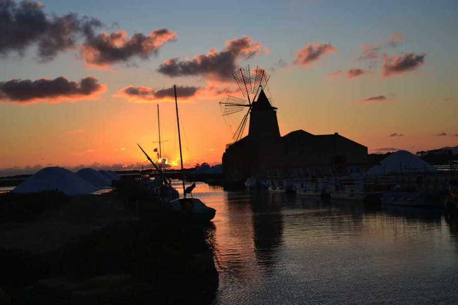 Sunset in Marsala Stagnone, Sicily