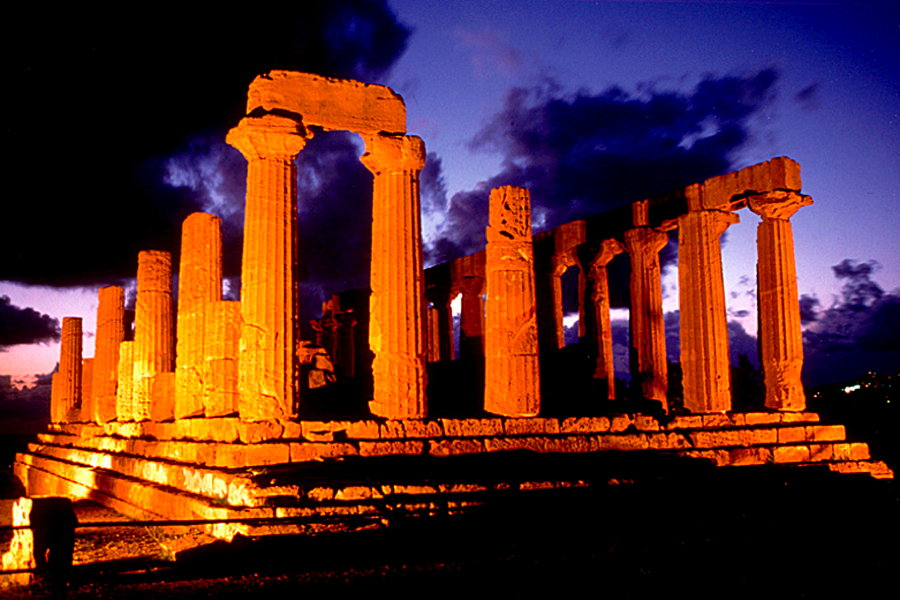 Sicily Valley of Temples in the evening