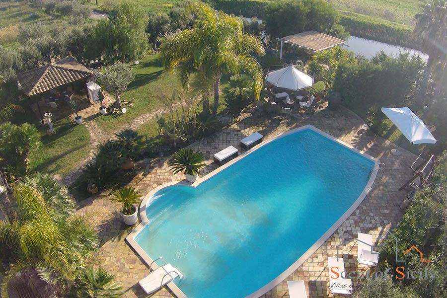 Villa Olympo swimming pool from the sky