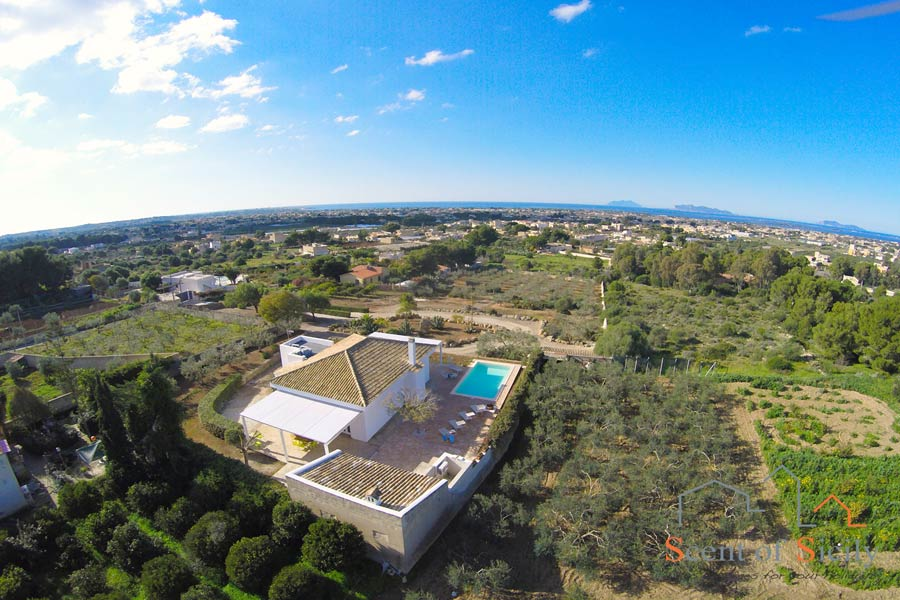 View from the sky Villa Dorotea, Marsala Western Sicily