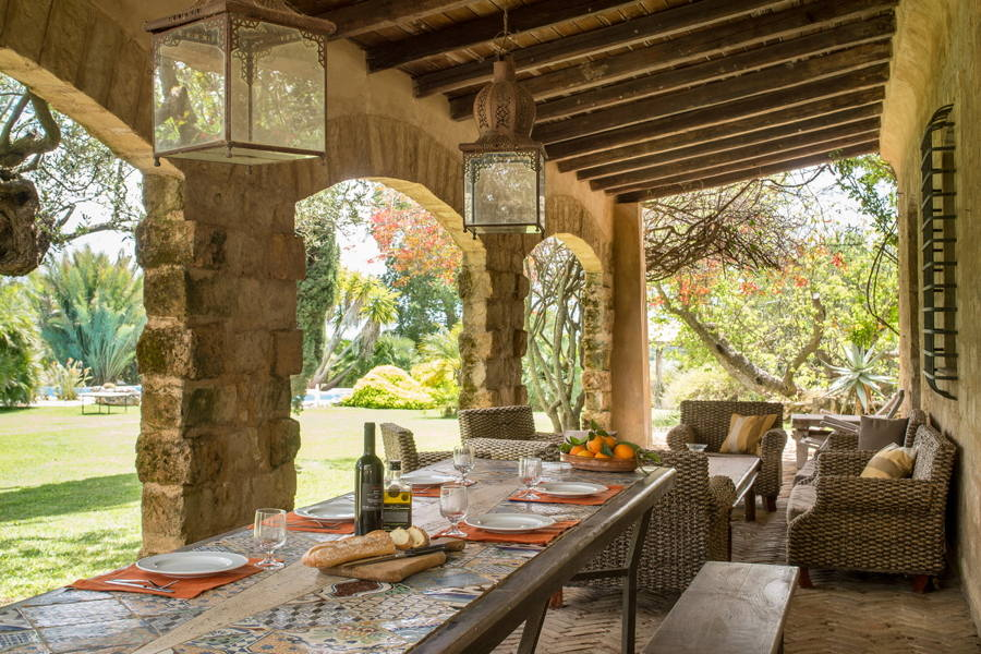 Eating in the veranda of Villa Tower, Casteletrano Western Sicily