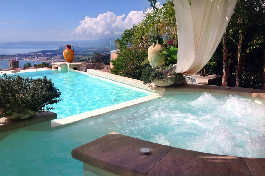 Sicily, Taormina, the private pool in the center