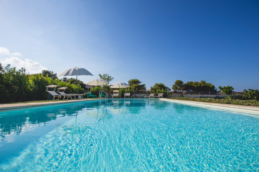 Sicily, Syracuse, private swimming pool in villa White and Blue