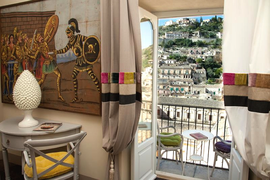 Modica, Sicily, Apartment Flowers view
