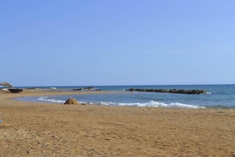 Sicily, blue sea near Baroque town
