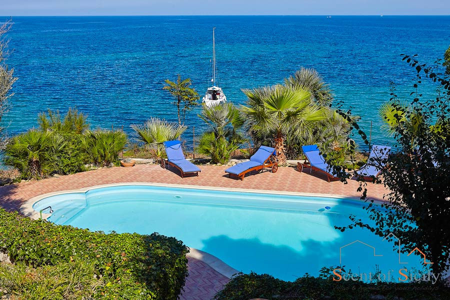 Villa Angela Blu Palermo area, Sicily, view from the heated pool