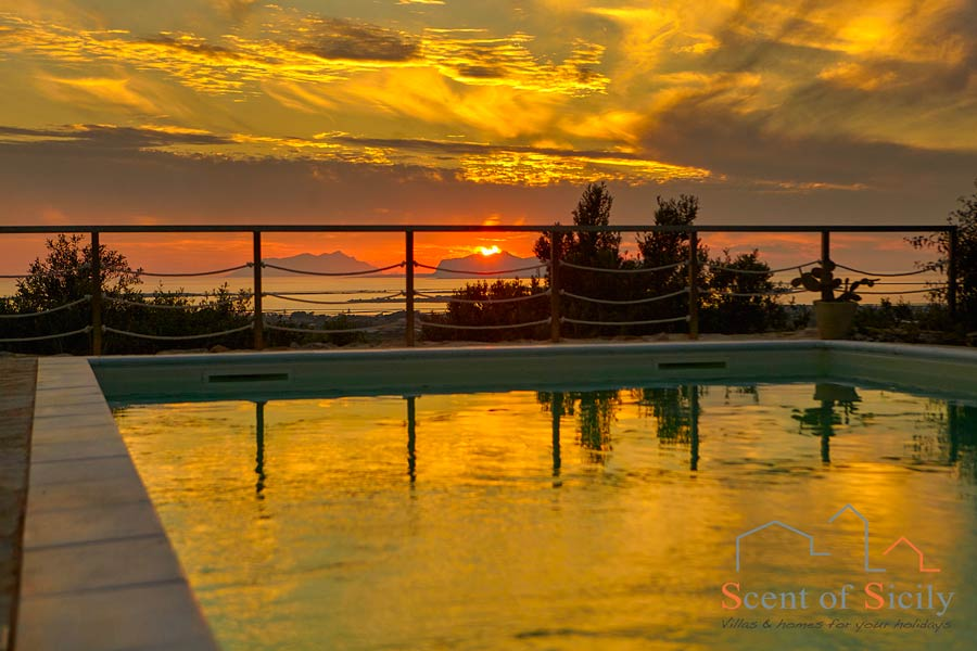 Sicilian, magic sunset from the villa