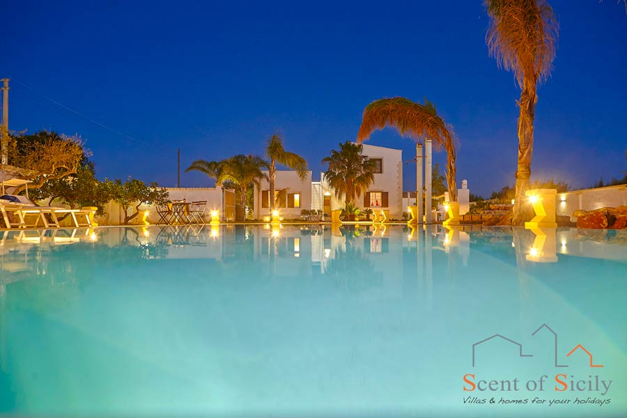 Villa del Tufo, Marsala, Sicily, at the sunset view from the pool