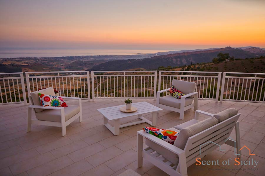 Villa Air, Favara, Sicily, view at the sunset