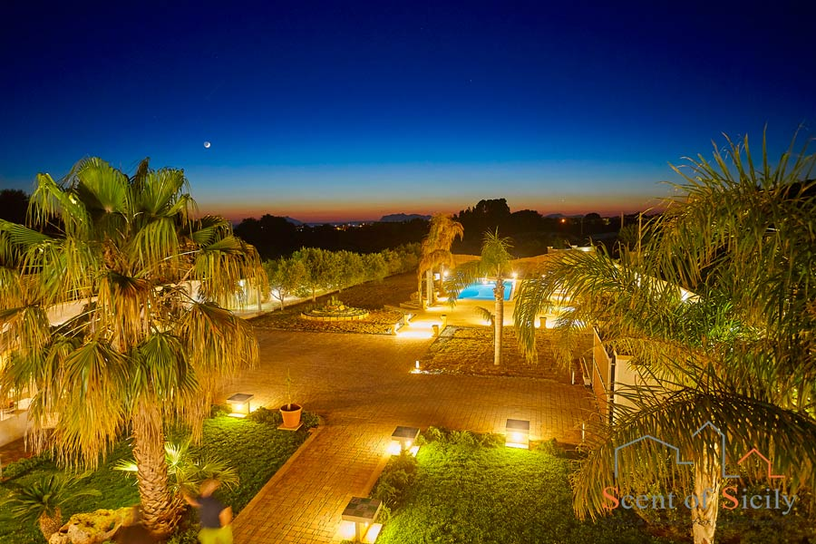 Villa del Tufo, Marsala, Sicily, in the evening