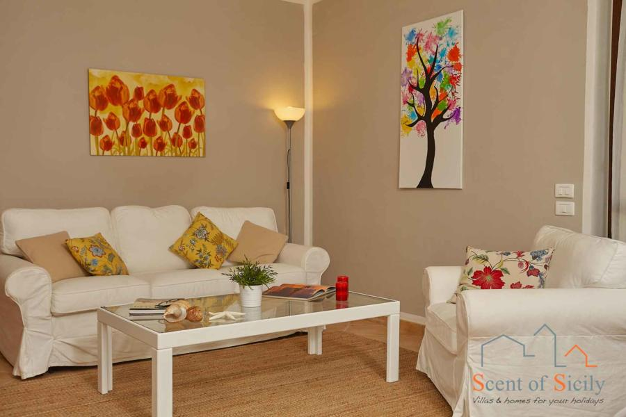 Villa Simo Marsala Western Sicily, relax area in the living room