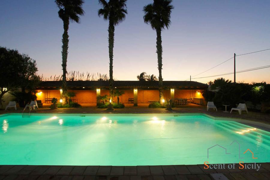 Pool and patio in the evening  - Villa Lory Marsala Western Sicily