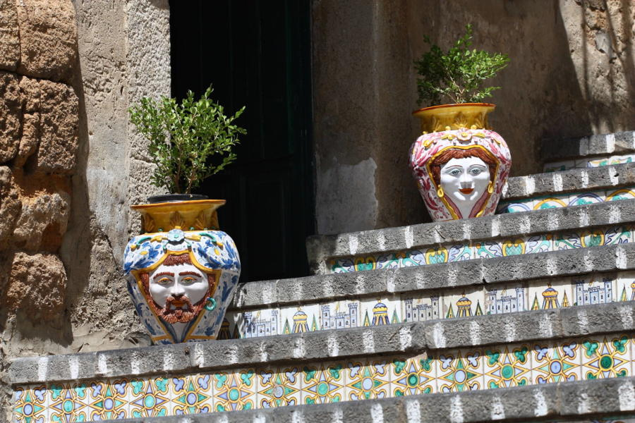 A coloured ceramic corner in Taormina, Sicily