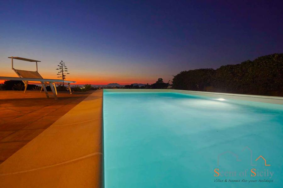 Pool view in the evening of Villa Dorotea, Marsala Western Sicily