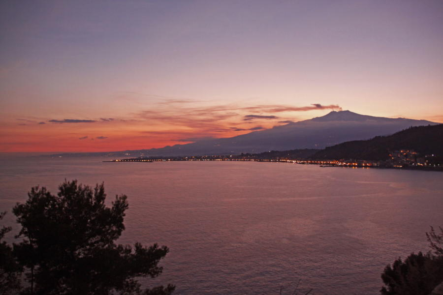 Sunset with background of Mount Etna, Sicily