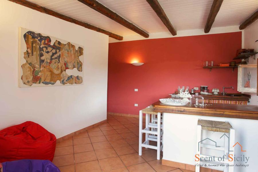 The breakfast area in the dependance of Villa Gio, Marsala, Western Sicily