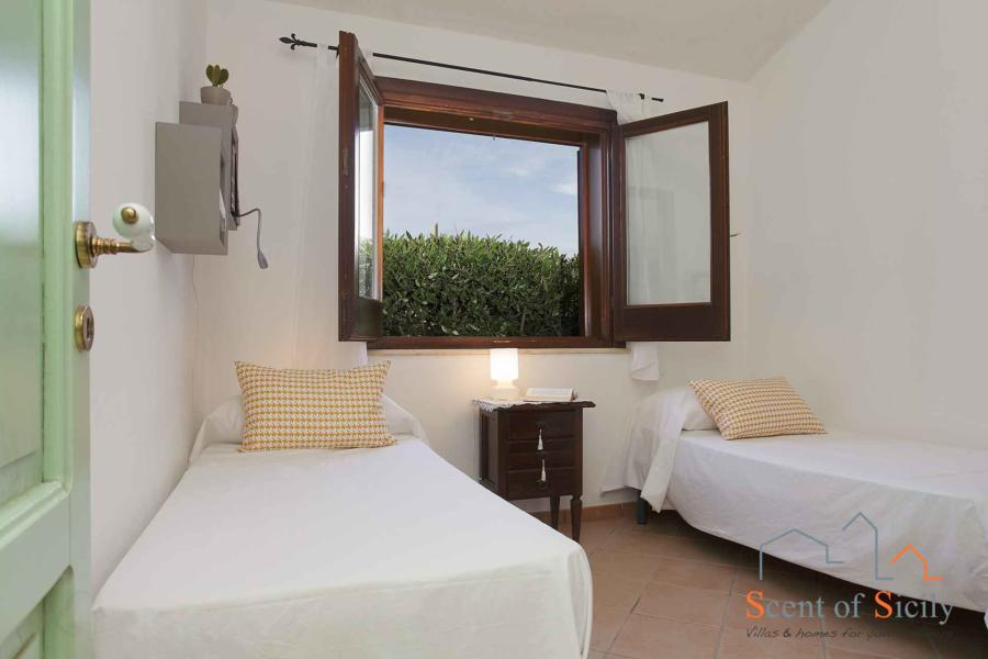 The twin bedroom in mainhouse of  Villa Gio, Marsala, Western Sicily