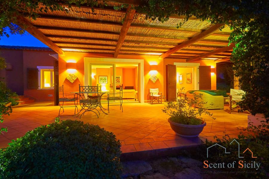 The patio in the evening -  Villa Panorana, Marsala Western Sicily