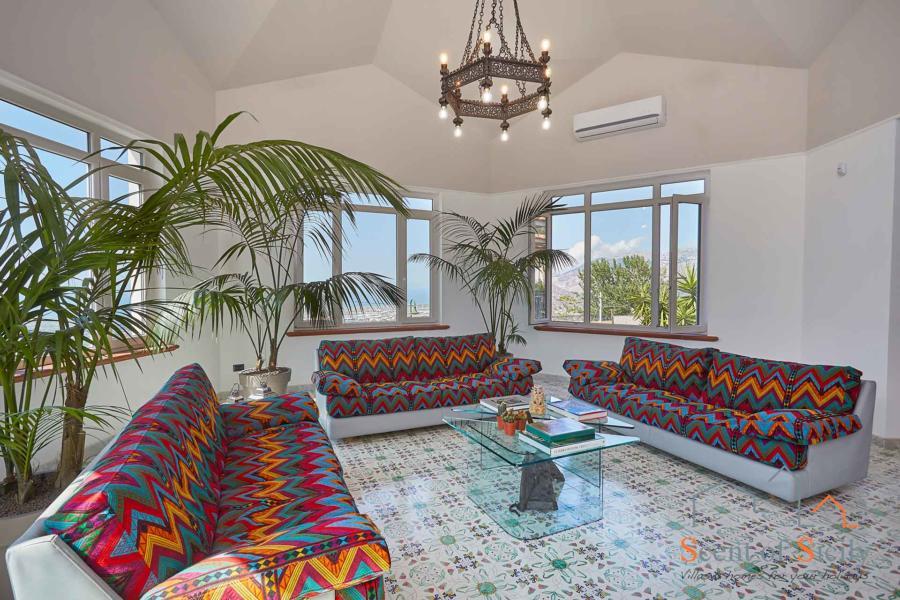 Villa Amphora living room, Carini, Sicily