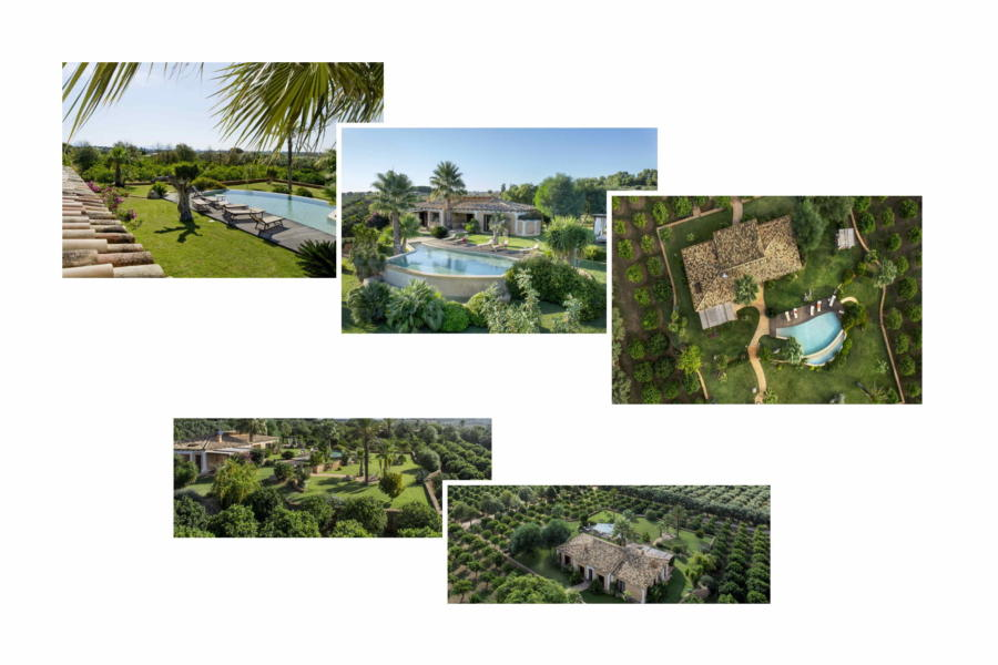 Different viewpoints of the well-kept garden and the swimming pool of Villa Bouganville Castelvetrano Scent of Sicily