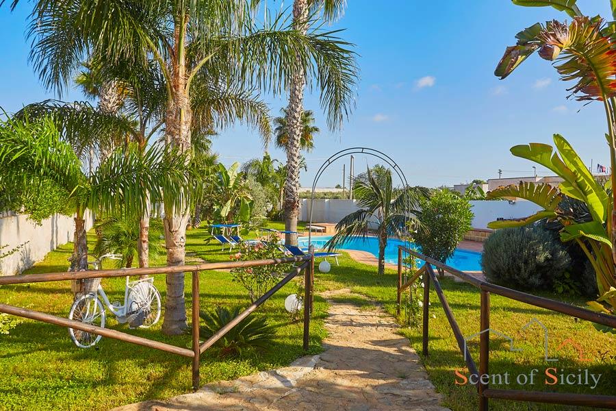 To the pool of Villa Gio, Marsala, Sicily