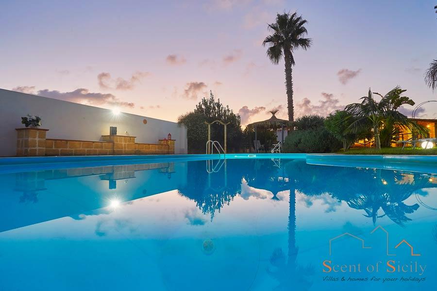 Sunset in the pool ofVilla Gio, Marsala, Western Sicily