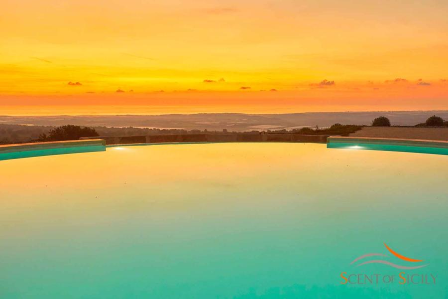 Sunset view from the pool in Villa Bianca Levante Donnafugata Scent of Sicily