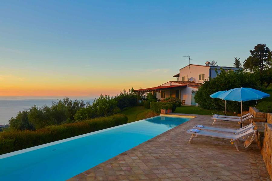 Pool area in Villa Sunrise, Capo d'Orlando, Notnern Sicily - first floor