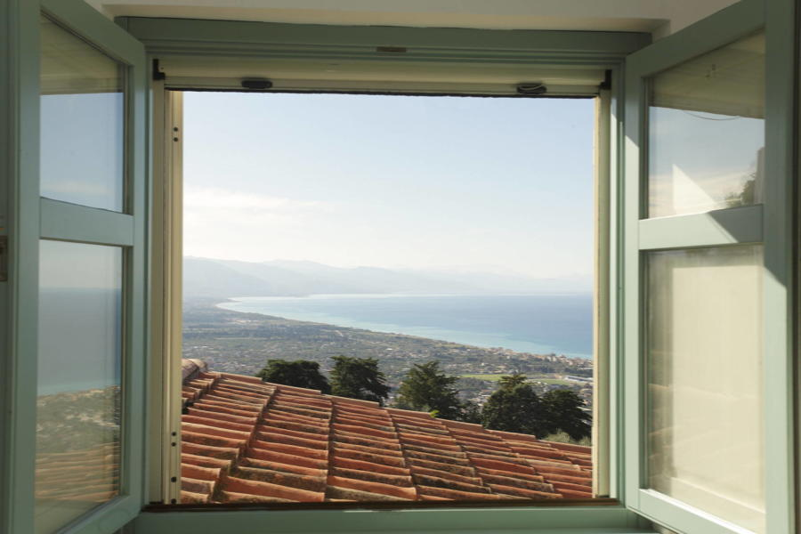 View from the master bedroom in Villa Sunrise, Capo d'Orlando, Notnern Sicily - first floor