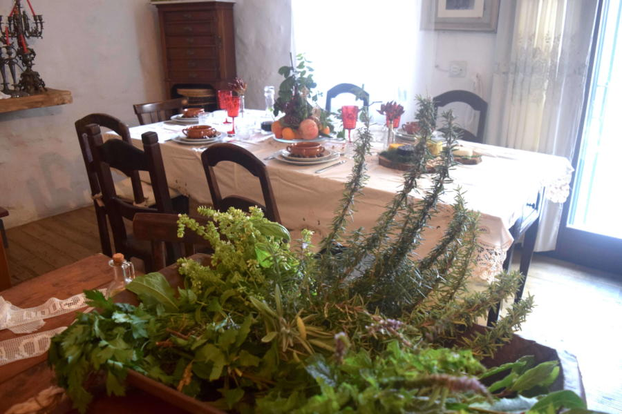 Table in living room, Magical House Gratteri, Sicily