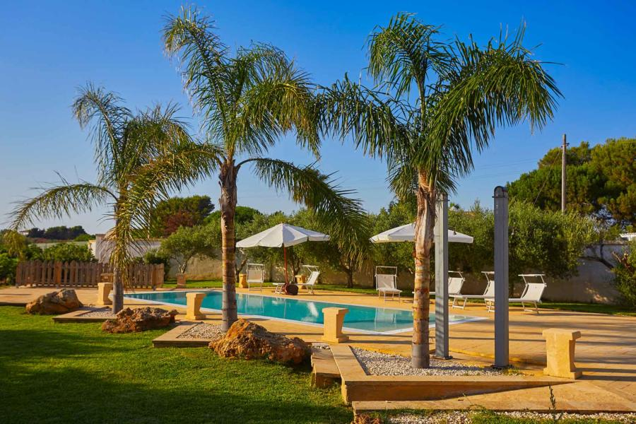 Garden the the pool area in Villa del Tufo, Marsala Western Sicily