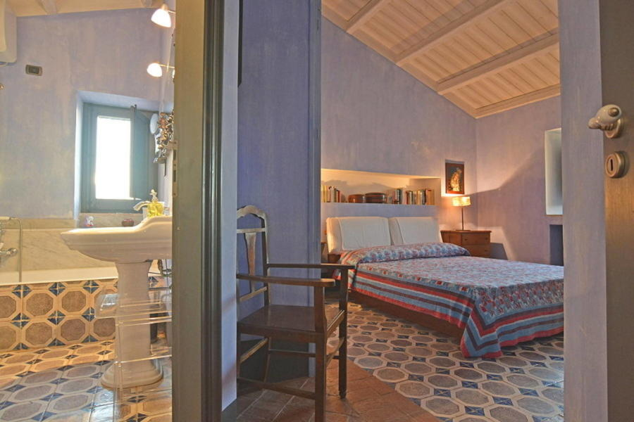 Blue double bedroom for perfect sleep and relax in Villa Sea View Cefalu area Scent of Sicily