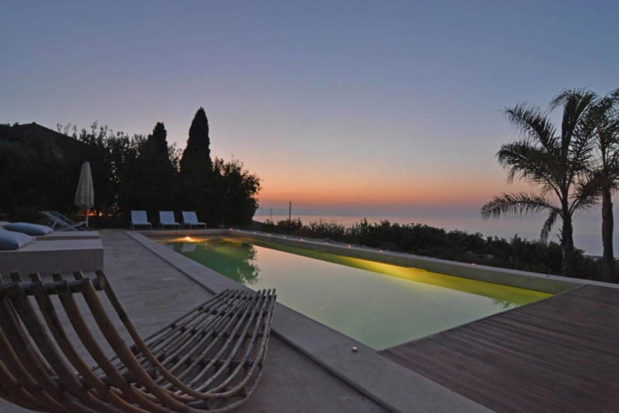 Relax at sunset from the pool in Luxury Villa Sea View Cefalu Area Scent of Sicily