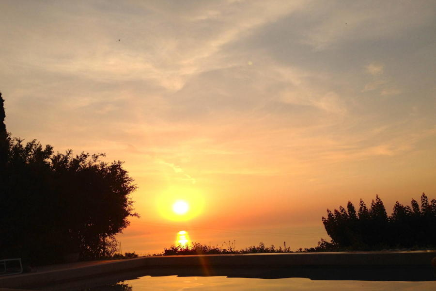 Sunset from the pool of Villa Sea View Cefalù area Sicily Scent of Sicily