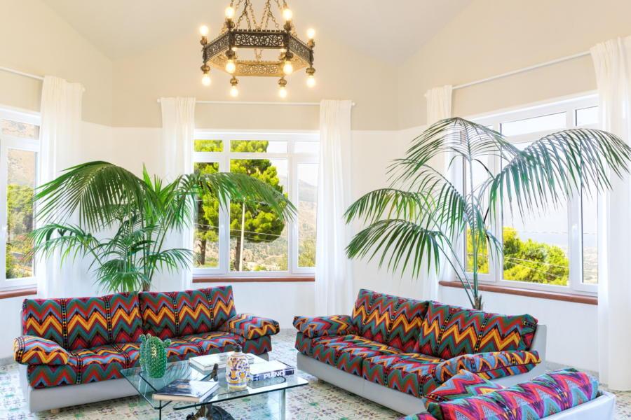 Living Room in Villa Amphora Carini Scent of Sicily