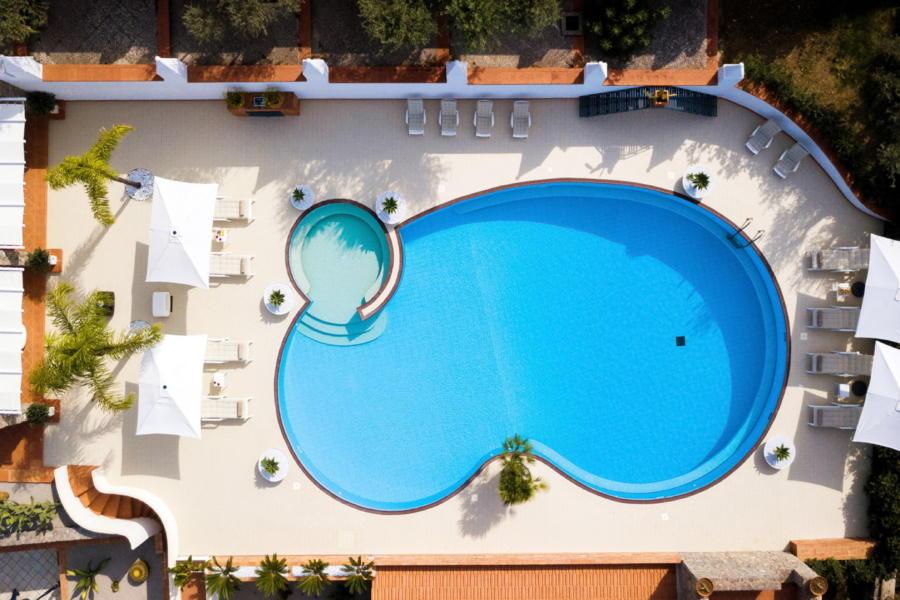 Top view of the pool area of Villa Amphora Carini Scent of Sicily