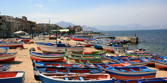 Boats on the beach of Bagheria