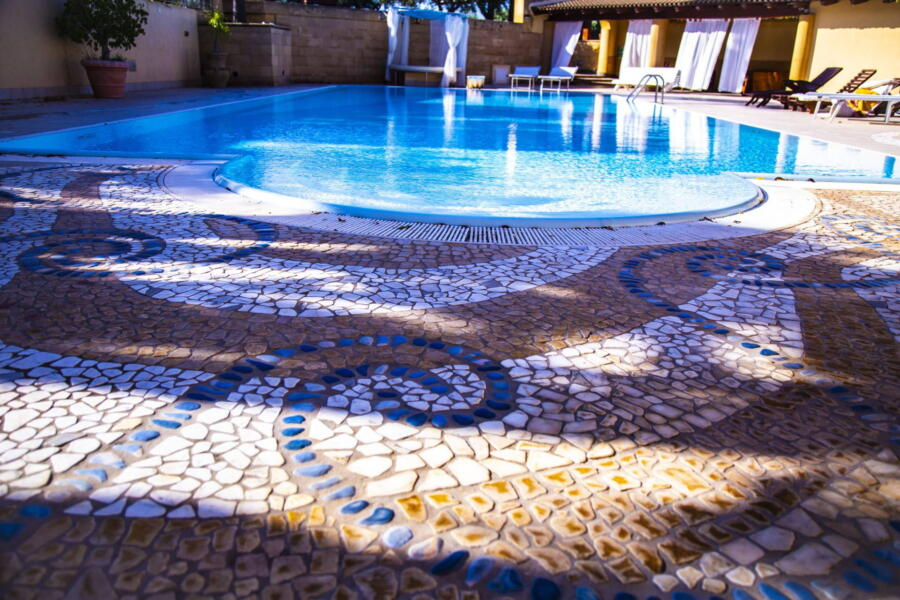 Mosaics surrounding the pool