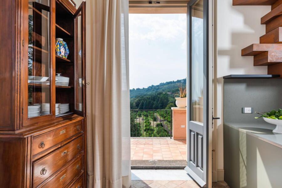 Green kitchen view