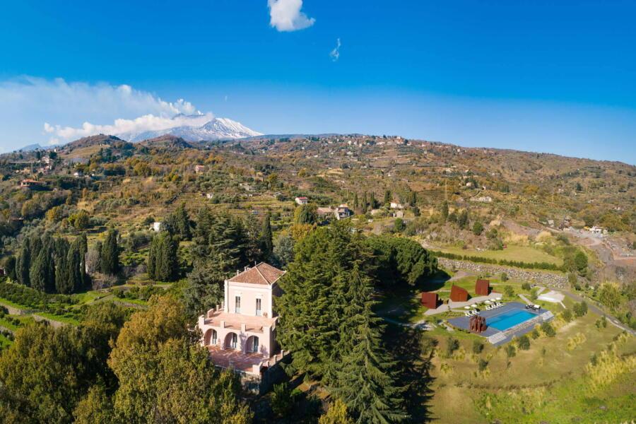 Sicily, Taormina Area, Tenuta Villarte sky view
