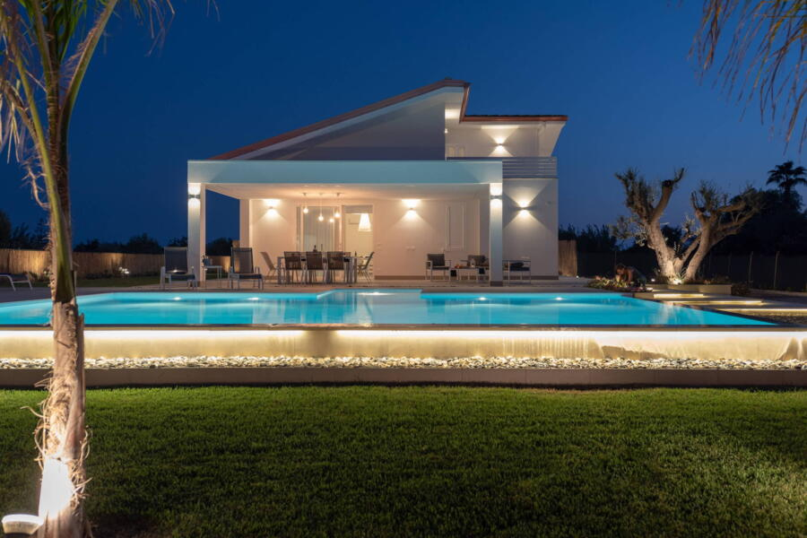 Delightful view from the pool garden and villa in the evening