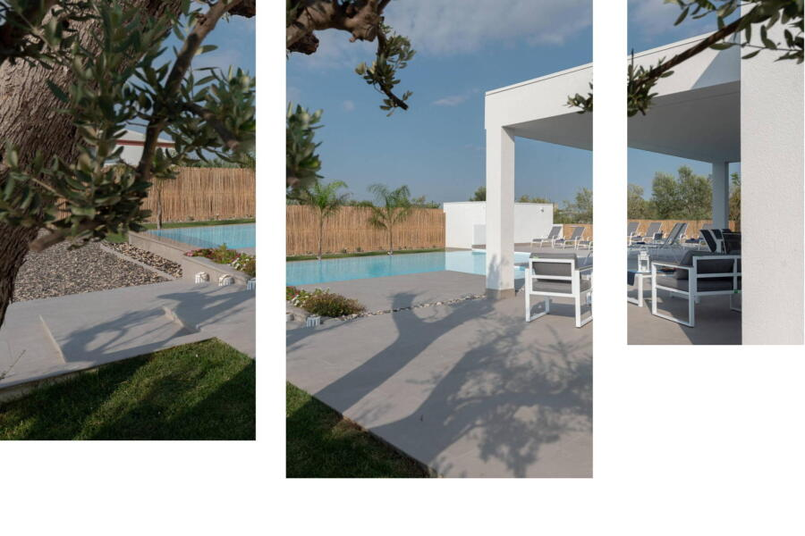 Cutouts of the patio harmoniously overlooking the blue of the pool