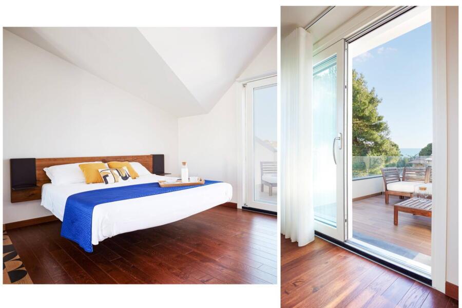 The fist floor bedroom in villa Levante