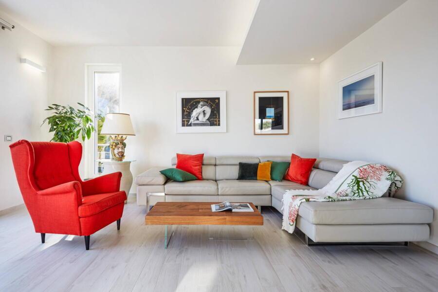 The bright living room in Villa Levante