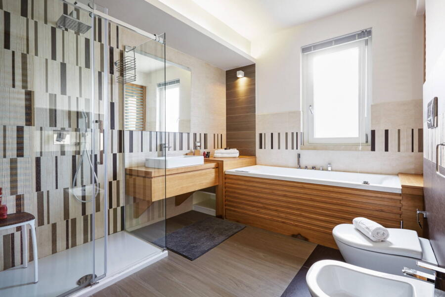 The exquisite bathroom with whirlpool tub