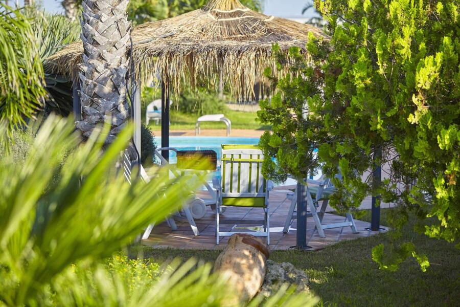 Patio in pool area  of Villa Gio, Marsala, Western Sicily