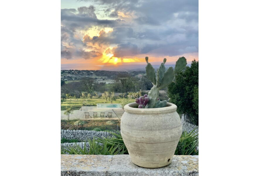 The view of the countryside of Baroque Sicily from the terrace