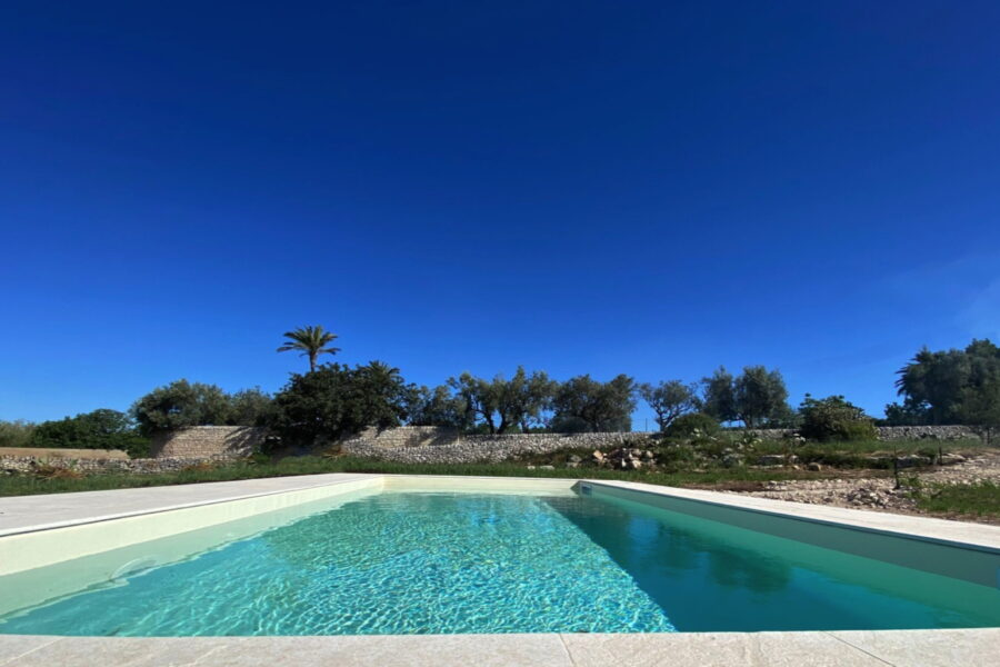 The swimming pool surrounded by the countryside