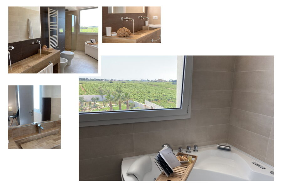 The sophisticated bathrooms in the villa and the one in the suite on the first floor with both shower and hydromassage